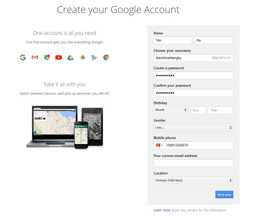 Cách Tạo 1 Tài Khoản Gmail Mới
