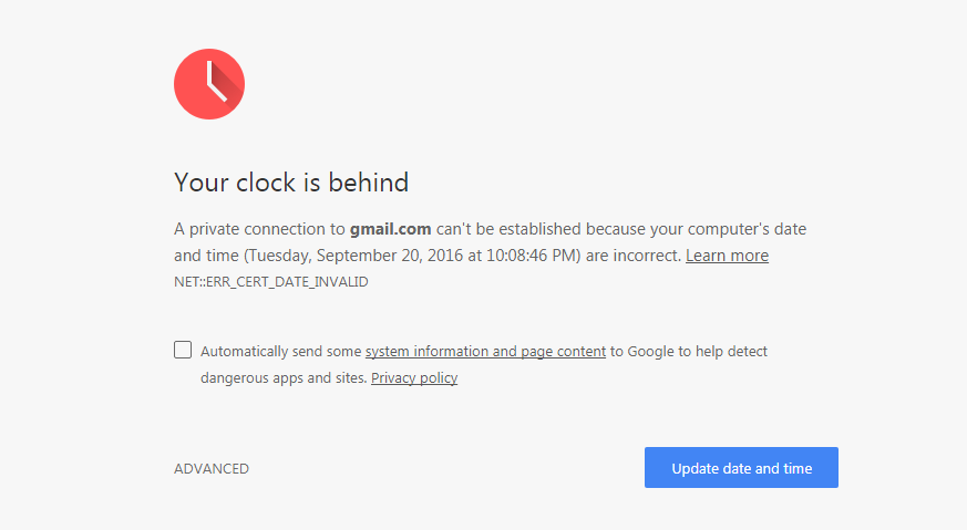 Lỗi ngày tháng không vào được Gmail