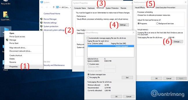 Thiết lập RAM ảo cho Windows 10 để sửa lỗi Full Disk