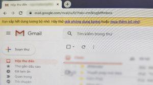 Thông báo Gmail bị đầy
