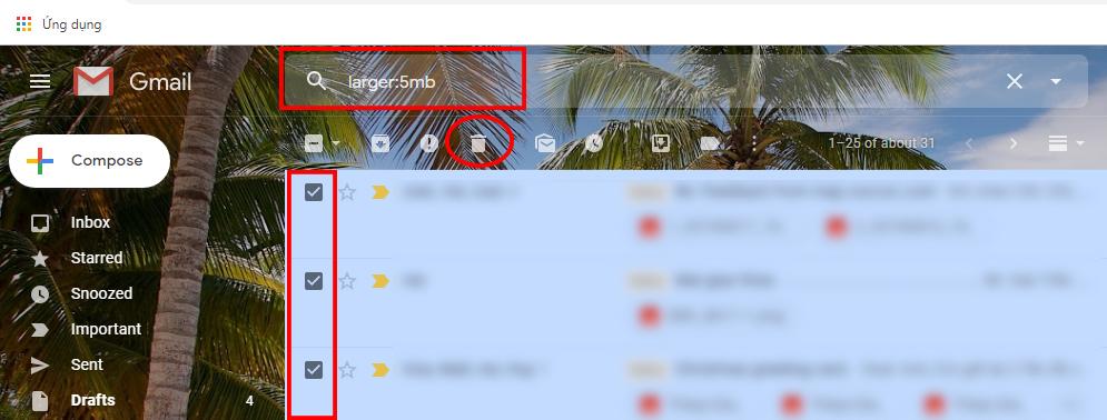 Lọc thư giải phóng dung lượng Gmail bị đầy